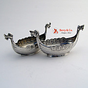 Viking Boat Pair of Salt Dishes 830 Silver Norway Dom Kirken