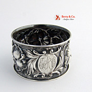 Floral Repousse Napkin Ring Sterling Silver