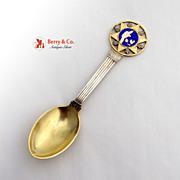 Michelsen 1931 Souvenir Spoon Christmas Spoon Sterling Silver Enamel