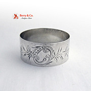 Vintage Sterling Silver Napkin Ring Marjorie Bright Cut Floral Decorations