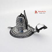 Figural Chamberstick Helmet Saber Dutch 833 Silver 1900