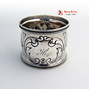 Coin Silver Napkin Ring Foliate Repousse Decorations 1880