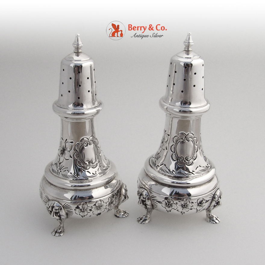 Ornate Salt And Pepper Shakers Sterling Silver Lion Feet From Berrycom Com On Ruby Lane