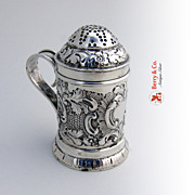Antique Sugar Shaker or Caster Repousse Sterling Silver London 1894