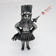 Primitive Indian Figure Cast  Sterling Silver 1900