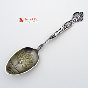 California Souvenir Spoon Oakland Oak Tree Bowl Meyer Sterling Silver 1895