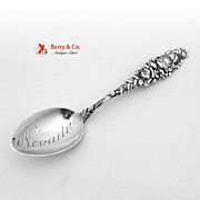 Alvin Floral Series Rose Nevada Bowl Souvenir Spoon 1900 Sterling Silver