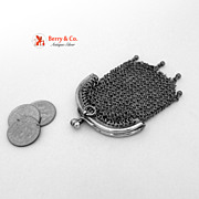 Vintage Chain Coin Purse Two Compartments 800 Silver