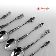 Dutch Apostle Spoons 6 Pseudo Hallmarks 833 Silver 1900