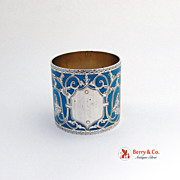 Antique Coin Silver Light Blue Enamel Napkin Ring Floral and Scroll Decorations