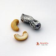 Figural Peanut Sterling Silver Pill Box