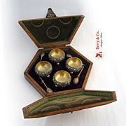 Gustav Klingert Enamel Russian 84 Standard Silver Salts and Spoons Boxed Set 4 1895