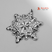 Christmas Snowflake Ornament Gorham Sterling Silver 1971