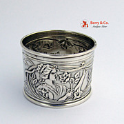 Art Nouveau Napkin Ring Female Figure Butterfly and Floral Motifs 800 Silver