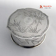 Chinese Export Silver Bamboo Powder Box Original Puff 1900