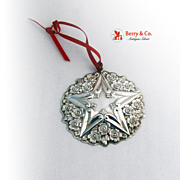 Gorham Buttercup Star Christmas Ornament 1999 Sterling Silver Box Bag