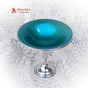 Sterling Silver Green Enamel Compote Towle Silversmiths