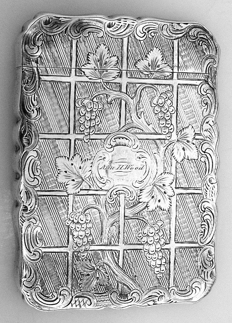 Calling Card Case Ann H Wood Coin Silver 1850 Leonard
