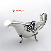 Art Nouveau Figural Lady and Flower Gravy Boat Sterling Silver Unger Brothers 1900