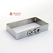Vintage Arts and Crafts Rectangular Napkin Ring Sterling Silver Mono KHG