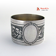 French Aesthetic Napkin Ring 950 Sterling Silver 1890  No Monogram