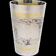 Russian Art Nouveau Large Vodka Cup 84 Standard Silver 1910