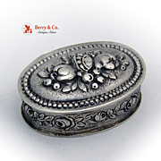 Ornate Oval Hinged Pill Box 915 Standard Silver 1900