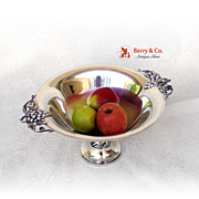 Pedestal Center Piece Bowl Grape Decorations Durham Sterling Silver