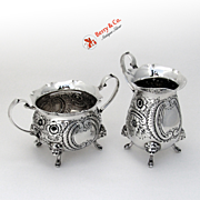 Ornate Floral Repousse Creamer and Sugar Sterling Silver Lion Mask and Paw Feet