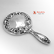 Ornate Floral Hand Mirror Sterling Silver Wallace 1900
