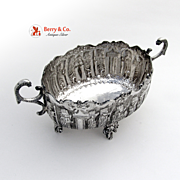 Persian Figural Bowl  Serpent handles Floral Feet Sterling Silver