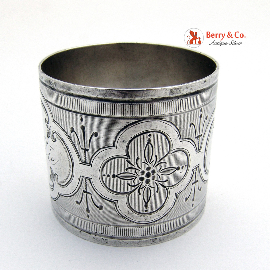 coin silver napkin ring engine turned engraved 1880 from