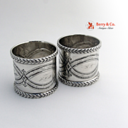 Ornate Pair Napkin Rings Coin Silver 1870