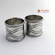 Ornate Pair Napkin Rings Coin Silver 1870