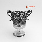 Toothpick Holder Open Work Floral Scroll Sterling Silver 1940