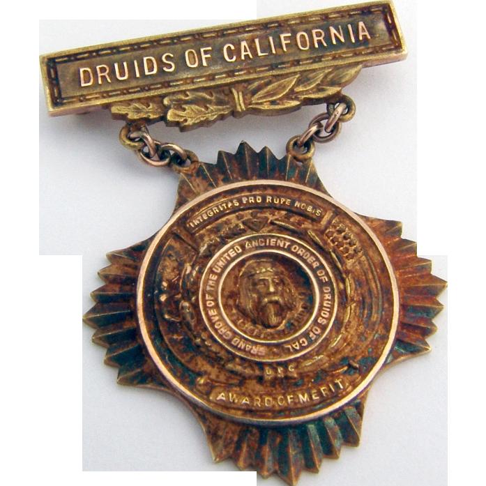 Druids Of California 10k Gold Award Or Merit 1920 From