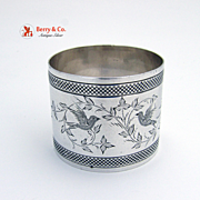 Coin Silver Napkin Ring Bird Floral Decorations 1870 Jack