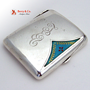 Cigarette Case Edwardian Style Guilloche Enamel Sterling Silver Germany 1920