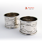 Awakening Pair of Napkin Rings Sterling Silver Towle 1958