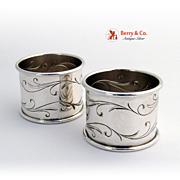Awakening Pair of Napkin Rings Sterling Silver Towle 1958
