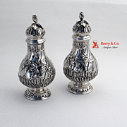 Large Ornate Salt and Pepper Shakers 800 Silver 1890