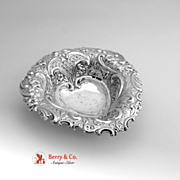 Heart Bowl Repousse Open Work Sheffield 1895 Sterling Silver