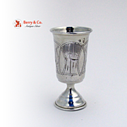 Russian Vodka Cup Engraved 84 Standard Silver 1910