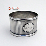 Engine Turned Napkin Ring Coin Silver 1860 MRM