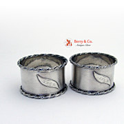 Pair Engine Turned Rope Twist Beaded Napkin Rings 1860 Coin Silver