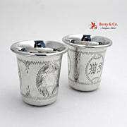 Large Star of David Vodka Cups Pair Sterling Silver 1920 MS