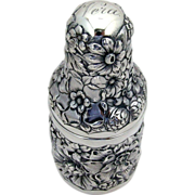 Perfume Bottle Holder Repousse Floral Gorham Sterling Silver 1892 Vera