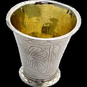 Antique Scandinavian Beaker Sterling Silver 18th Century Floral Engraved Designs
