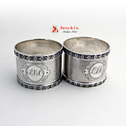 Antique Pair of Napkin Rings Coin Silver Engine Turned Decorations 1880