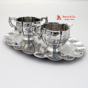 Vintage Mexican Creamer Sugar Bowl and Tray Hand Made Chased Decorations Sterling Silver Mason